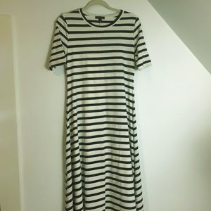 J. Crew Small jersey Maxi  cream navy stripe dress